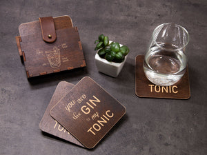 Personalized Coaster Set Drink Coaster Gin Lover Gift Beverage Coaster Gin to My Tonic Unique Wedding Gift Engraved Coaster Funny Fun Gift
