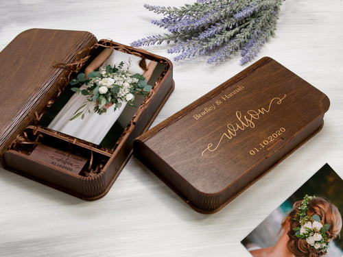 Wedding Gift Personalized Photo Box 5th Anniversary Gift for Couple Wooden Photo Storage Box Optional USB 3.0 Custom Photo Box Gift for Wife