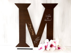Alternative Wedding Guest Book Wood Sign Monogram Guest Book Destination Wedding Gift Large Letter Sign Wedding Decor Personalized Guestbook