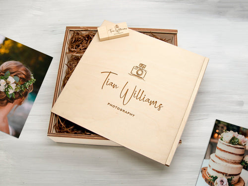 Personalized Keepsake Box Wedding Gift Wooden Photography Box Wood Photo Box Couple Gift Box for Photos Gift for Her Custom Photo Keepsake