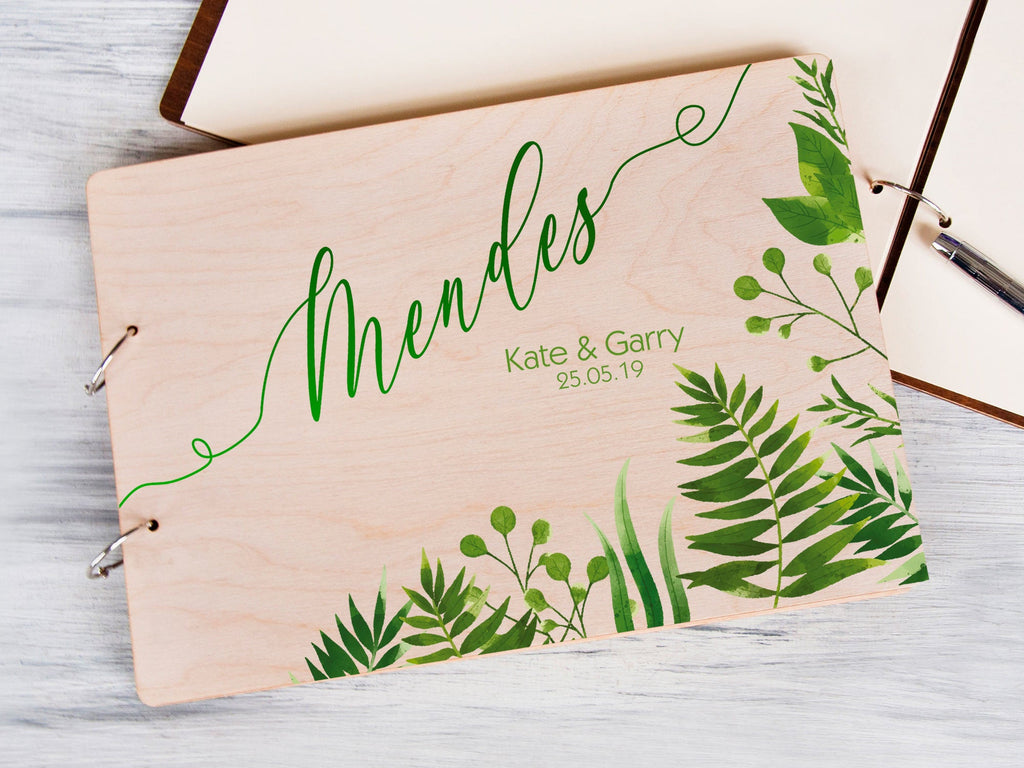 Tropical Wedding Guest Book Palm Leaves Wedding Guestbook Beach Wedding Custom Guest Book Personalized Hawaii Wedding Book Alternate Wedding