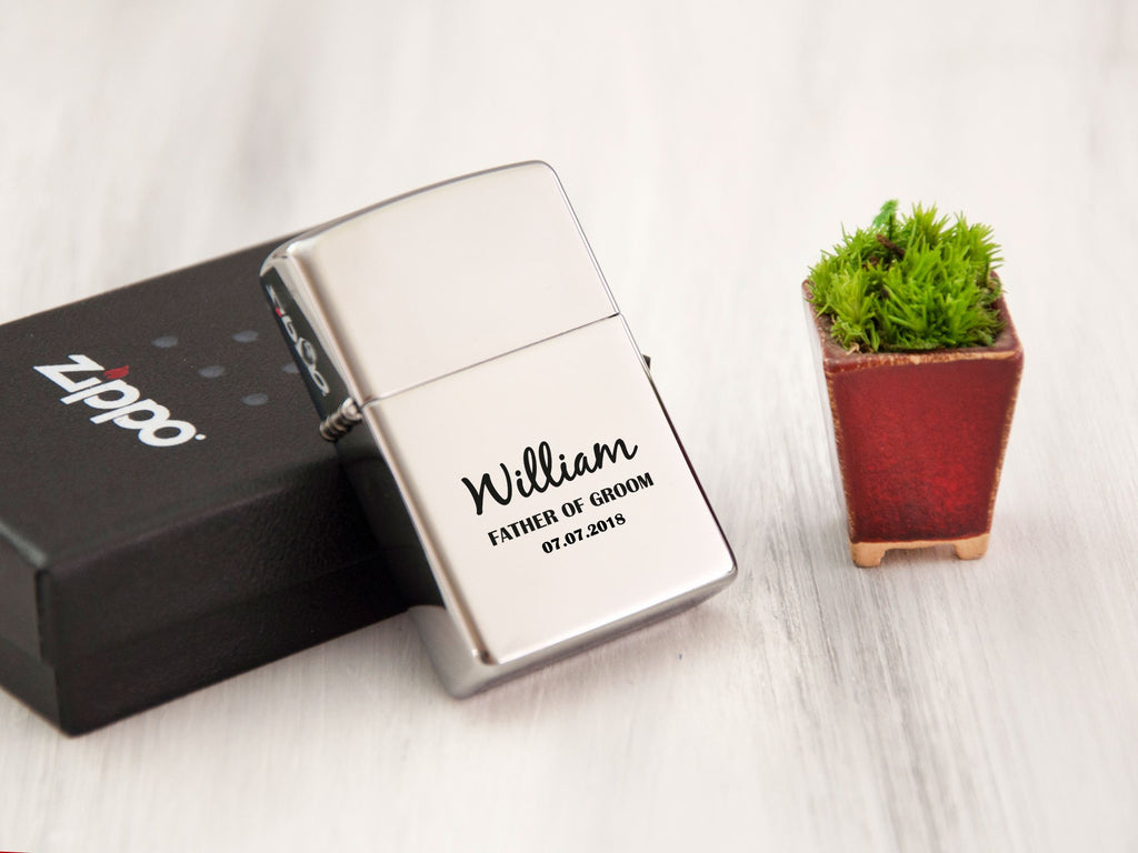 Engraved Lighter Zippo Personalized Gift Ideas Father of Groom Gift Wedding Gift for Groom Gifts for Men Groomsmen Lighter Gift for Husband