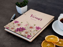 Load image into Gallery viewer, Personalized Recipe Journal Custom Blank Recipe Book Binder Floral Wood Journal Birthday Gift for Hostess Kitchen Cookbook Gift for Her