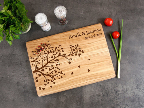 Personalized Cutting Board Wedding Gift Tree Cutting Board Anniversary Gift for Couple Valentines Day Gift Bridal Shower Gift New Home Gift