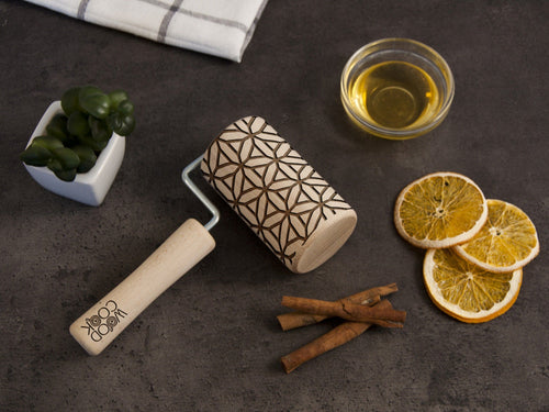Engraved Rolling Pin Geometric Pattern Embossed Pin Baking Gift for Girlfriend Birthday Cookie Stamp Custom Rolling Pins Mothers Day Gift