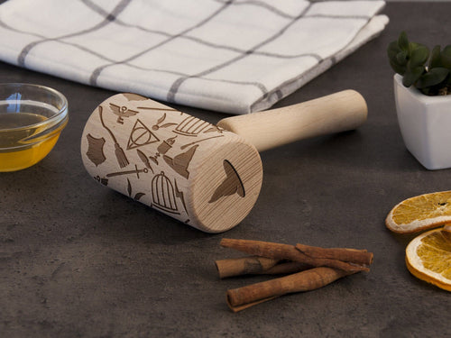 Laser Engraved Wooden Rolling Pin Kids Cooking Embossed Cookie Roller Wizard Gift for Kids Pattern Roller Birthday Gift for Son Cookie Stamp