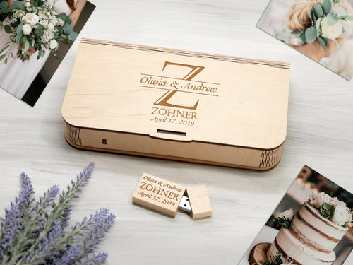 4x6 Wood Photo Box Optional 16/32 Gb USB 3.0 Personalized Wedding Print Box Custom Photographer Photo Box 5th Wedding Anniversary Gift