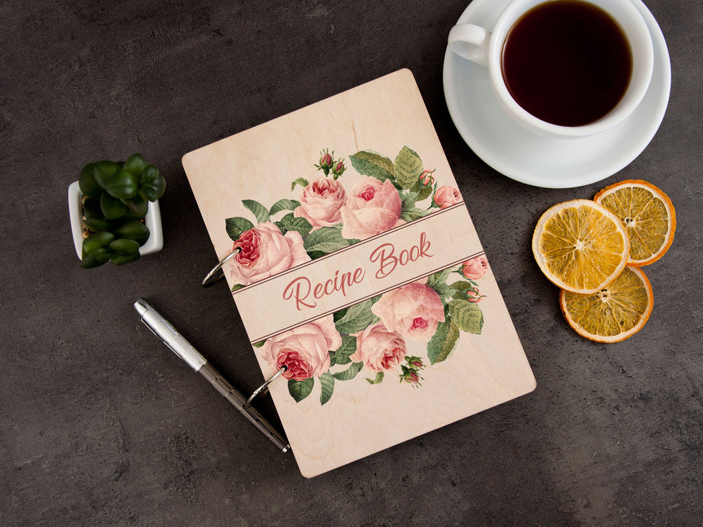 Personalized Recipe Book Recipe Journal Blank Engraved Wooden Journal Binder Pink Roses Print Birthday Gift Kitchen Cookbook Gift for Her
