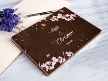 Load image into Gallery viewer, Personalized Wedding Guest Book Sakura Tree Album Printed Wooden Guest Book Rustic Wedding Guestbook Bridal Shower Gift Engagement Guestbook
