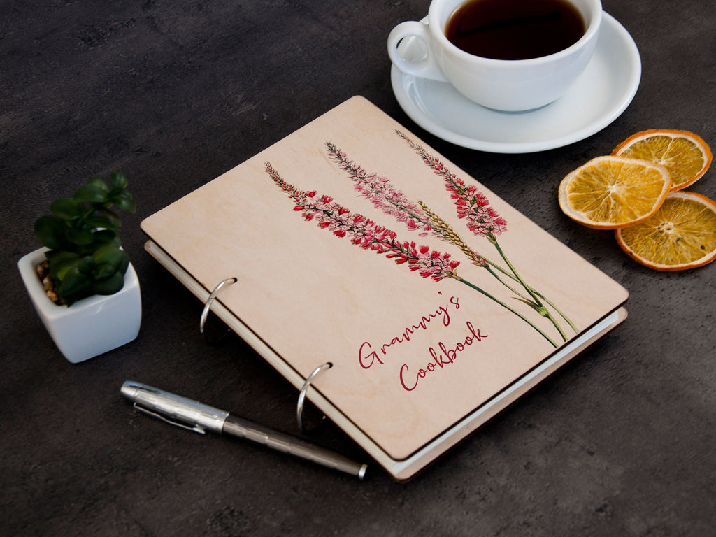 Personalized Recipe Binder Anniversary Gift for Grandma Customized Recipe Book Wildflower Print Wood Cookbook Gift for Grammy Recipe Journal