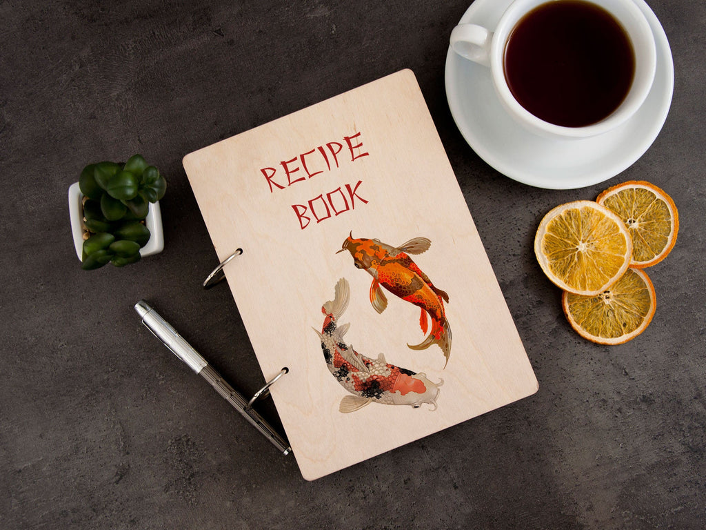 Customized Recipe Book Japanese Style Unique Recipe Binder Koi-Fish Art Printable Recipe Book Gift for Hostess Wooden Cookbook Colorful Fish