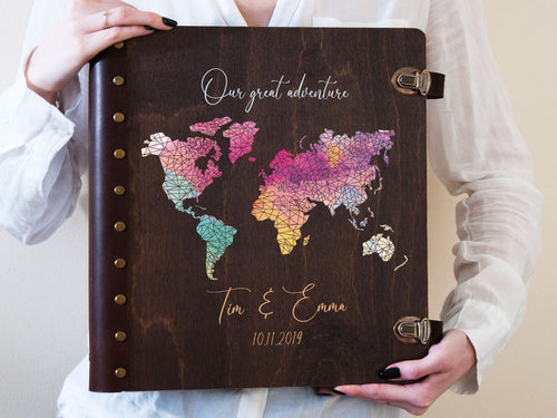 Wedding Photo Album Our Great Adventure Travel Photo Album Personalized Album Anniversary Gift Custom Album Gift for Couple Colorful Map