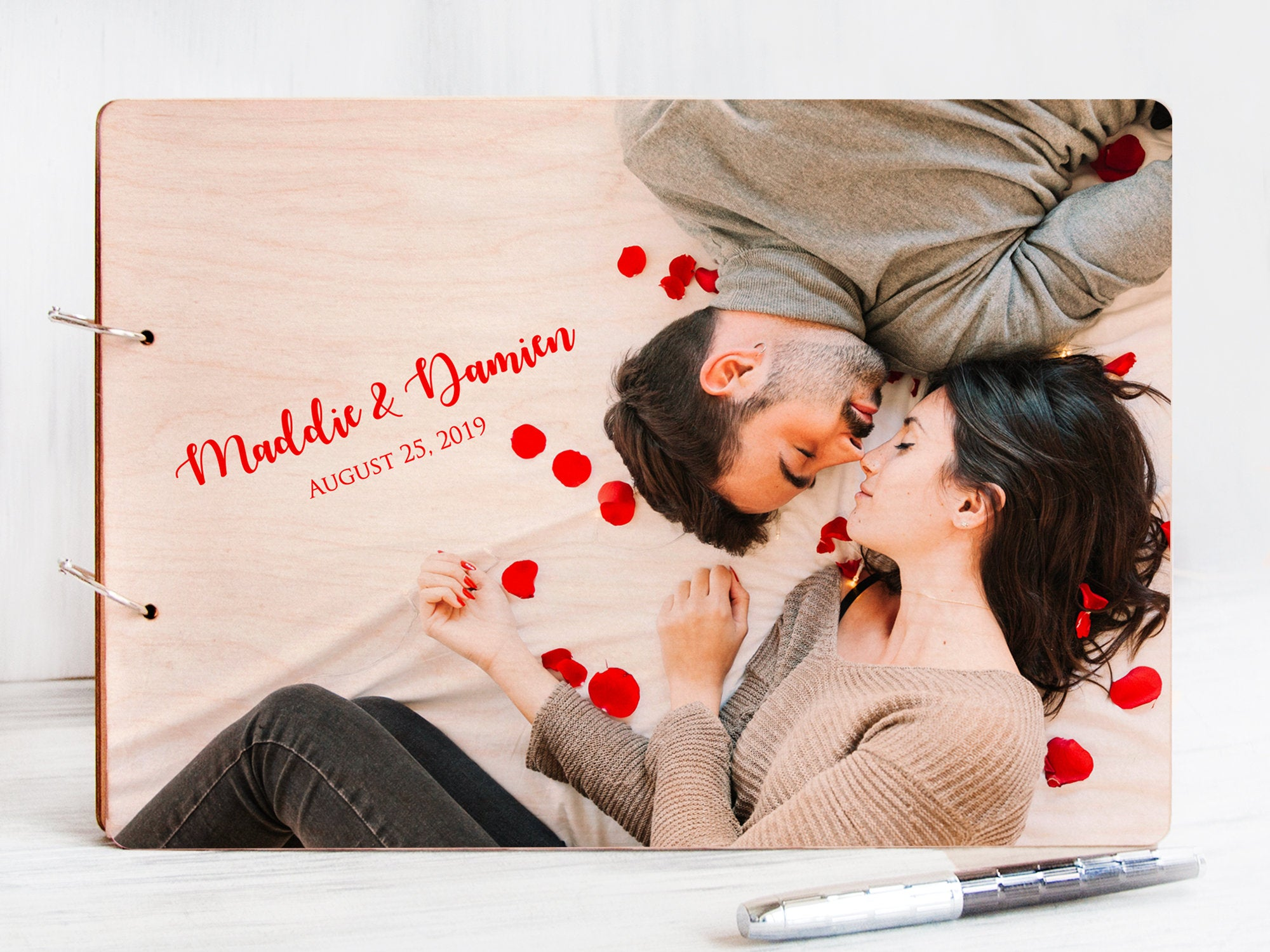 Personalized Photo Guestbook Wedding Guest Book Wooden Memory Book Wedding Photo Journal Engagement Gift for Couple Rustic Wedding Album