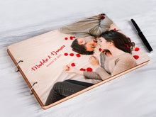 Load image into Gallery viewer, Personalized Photo Guestbook Wedding Guest Book Wooden Memory Book Wedding Photo Journal Engagement Gift for Couple Rustic Wedding Album