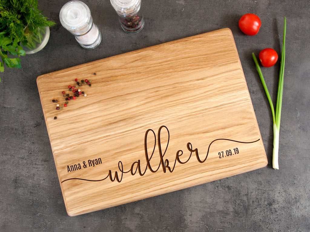 Custom Cutting Board Personalized with Last Name Wedding Gift for Couple Engraved Cutting Board Housewarming Gift Anniversary Present