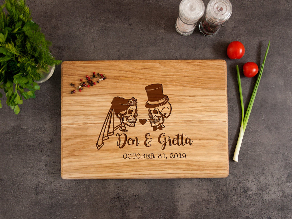 Personalized Cutting Board Halloween Wedding Gift Engraved Board Sugar Skull Wedding Decor Engagement Gift Goth Wedding Custom Serving Board