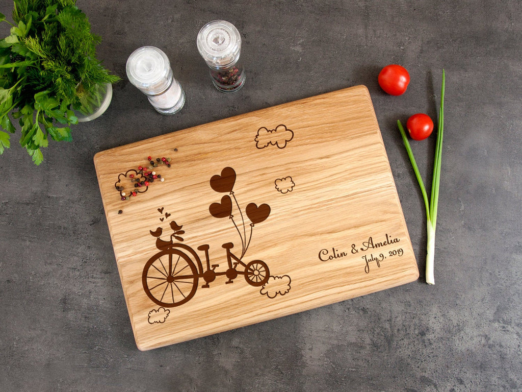 Personalized Cutting Board Engagement Gift Cheese Board Anniversary Gift for Couple Bicycle Wedding Gift Name and Data Engraved Board Gift