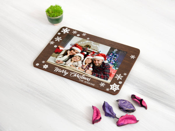 Personalized Christmas Photo Card Custom Christmas Gift Photo Christmas Greeting Card Personalized Gift for Family Wood Custom Holiday Decor