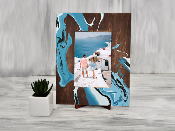 Wedding Photo Frame Abstract Painting Rustic Picture Frame Bridal Shower Gift Printable Frame Anniversary Gift for Couple 4x6 Photo Frame