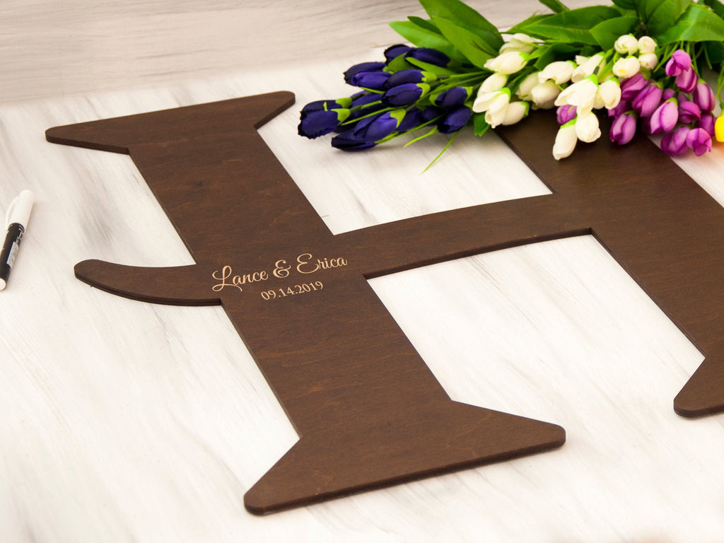 Wedding Sign Personalized Guest Book Wooden Letter Sign Monogram Guestbook Rustic Wedding Decor Alternative Guest Book Unique Guest Book