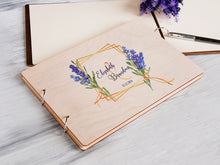 Load image into Gallery viewer, Wedding Guest Book Lavender Print Guestbook Sign Wood Guest Book Custom Wedding Album Purple Wedding Guest Book Personalised Memory Book