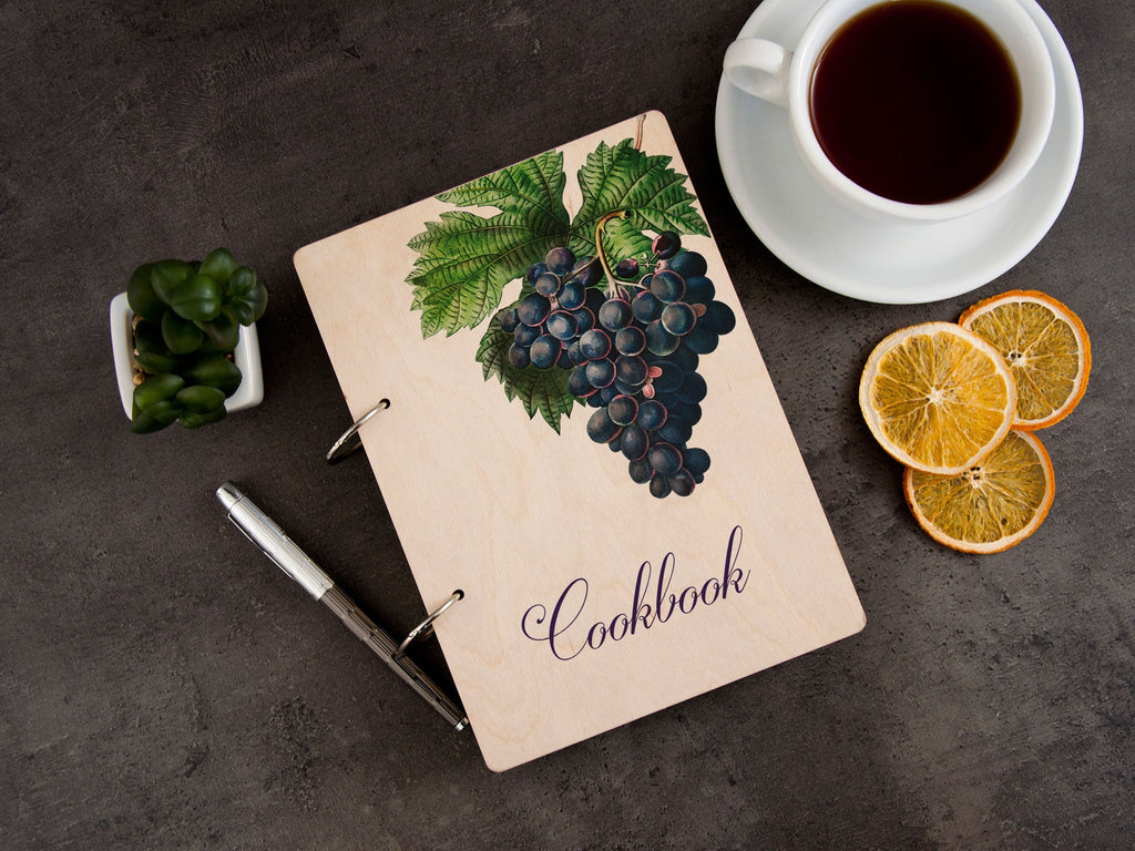 Personalized Cookbook Custom Recipe Journal Grape Bunch Wood Recipe Binder Kitchen Gift Ideas Fruits Print Gift for Her Grape and Leaves