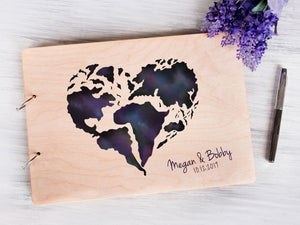 Personalized Guest Book Love Heart Print Wedding World Travel Map Guest Book Wedding Guestbook Ideas Custom Guest Book Blank Wedding Album