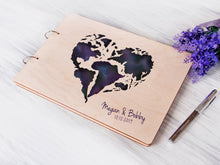 Load image into Gallery viewer, Personalized Guest Book Love Heart Print Wedding World Travel Map Guest Book Wedding Guestbook Ideas Custom Guest Book Blank Wedding Album