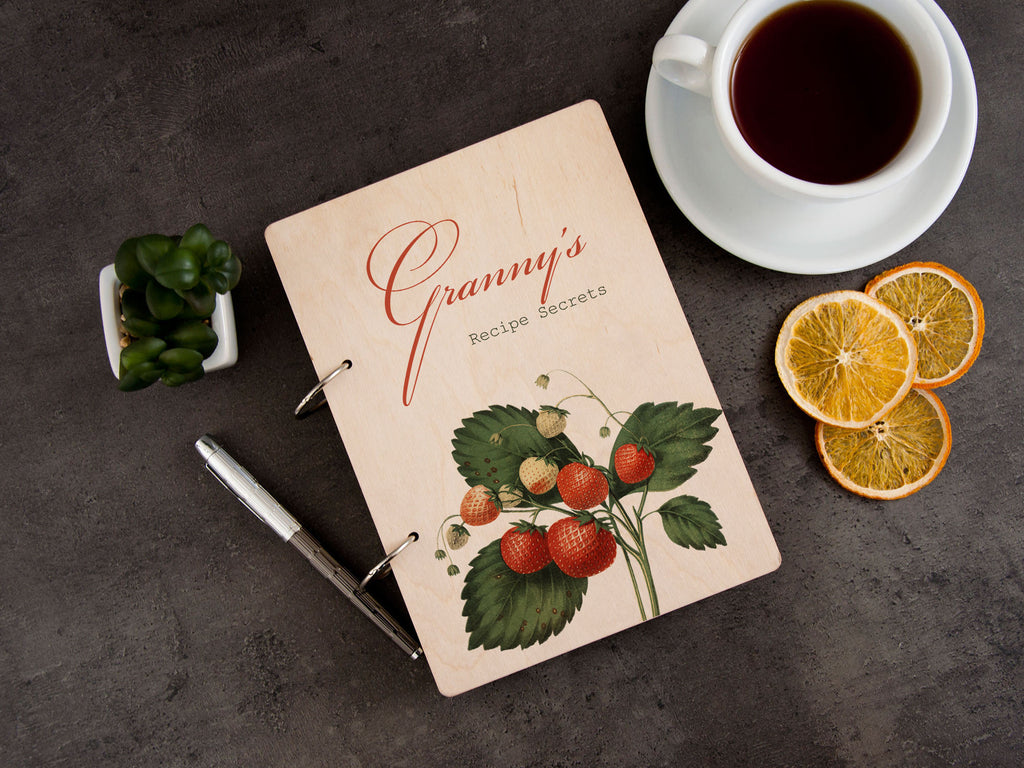 Blank Recipe Book Binder Personalized Cooking Gift for Granny Wood Recipe Journal Custom Cookbook Strawberry Print Kitchen Gift for Grandma