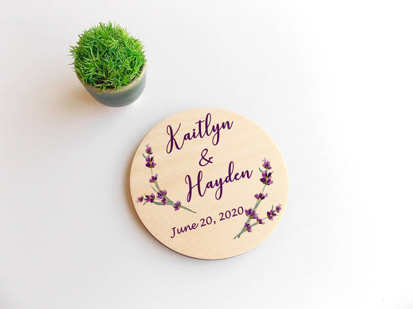 Personalized Wedding Magnets Lavender Wedding Save the Date Wooden Wedding Magnets Customized Wedding Announcement Rustic Wedding Invites