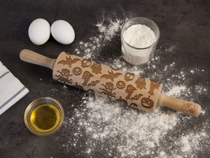 Nightmare Before Halloween Gift Rolling Pin Custom Engraved Roller Personalized Mother Gift Idea Birthday Gift for Mom Embossing Rolling Pin