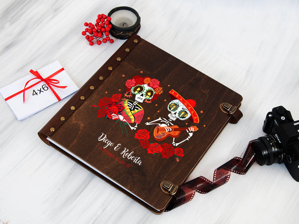 Halloween Wedding Photo Album Sugar Skull Wood Photo Book Gift for Couple Custom Scrapbook Personalized Album Anniversary Gift Custom Album