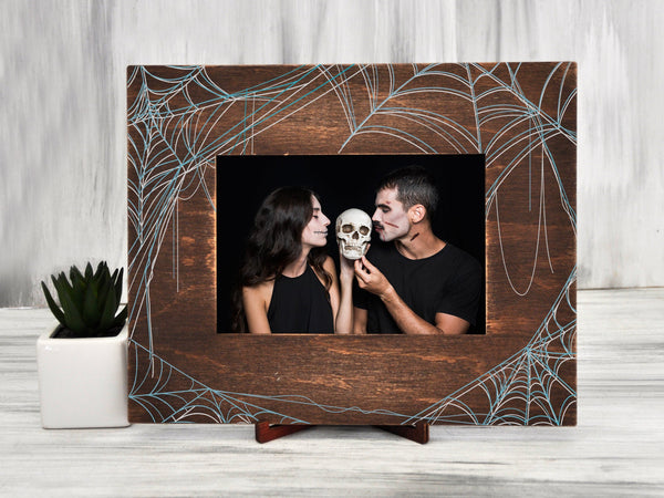 Halloween Picture Frame Spider Web Pattern Photo Frame Anniversary Gift for Couple Printable Frame 4x6 Photo Frame Halloween Party Decor