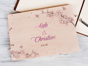 Personalized Wedding Guest Book Sakura Tree Album Printed Wooden Guest Book Rustic Wedding Guestbook Bridal Shower Gift Engagement Guestbook
