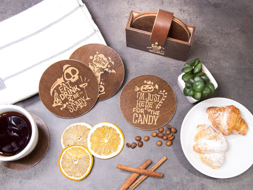 Halloween Party Gift Personalized Coasters Wood Drink Coaster Funny Coaster Set of 6 Halloween Decor Engraved Coaster Party Table Coaster