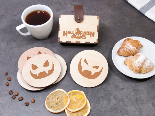 Halloween Decor Wood Coaster Set Engraved Drink Coaster Party Coaster Personalized Coaster Housewarming Gift Monster Party Halloween Pattern
