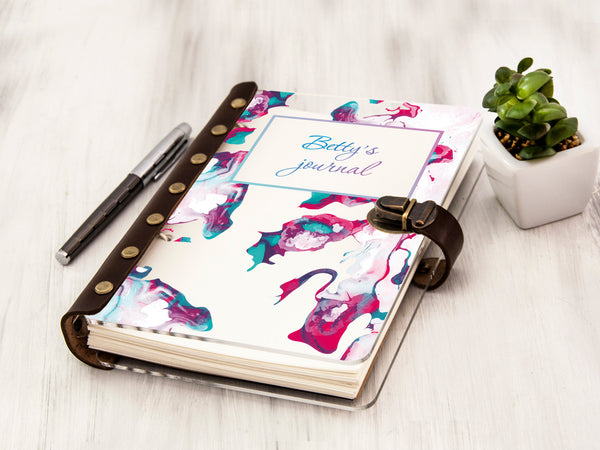 Personalized Monthly Planner Watercolor Painting Fitness Journal Weekly Planner Christmas Gift 2020 Planner A5 Gift for Her Custom Journal