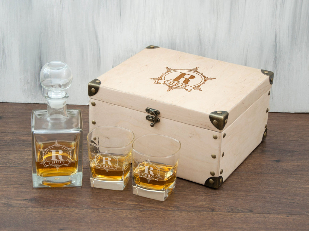 Anniversary Gift for Him Personalized Whiskey Decanter Set Birthday Gift for Husband Engraved Decanter Set Whiskey Glasses Retirement Gift