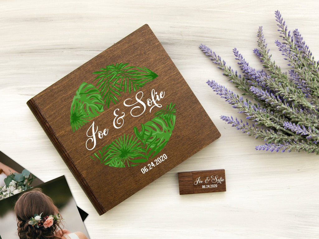 Tropical Wedding Photo Box Engagement Gift for Couple Personalized Photo Storage Box Anniversary Gift for Newlyweds Custom Wooden Photo Box
