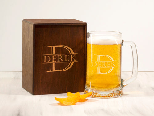 Groomsmen Beer Mug Personalized Beer Gift for Groom Best Man Gift Etched Groomsman Glass Custom Beer Favors Christmas Gift for Husband