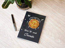 Load image into Gallery viewer, Printable Recipe Journal Time to Cook Personalized Recipe Book Alarm Clock Design Christmas Gift Pizza Lover Gift Cookbook Housewarming Gift