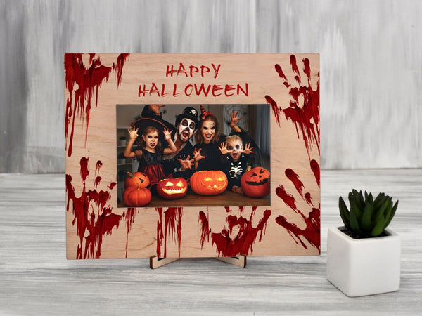 Halloween Photo Frame Bloody Hand Print 4x6 Frame Happy Halloween Personalized Picture Frame Halloween Party Gift Printable Customized Frame