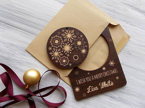 Personalized Laser Cut Ornaments in Christmas Greeting Card Gift for Brother Wood Christmas Tree Ornament Snowflakes Ornament Holiday Decor