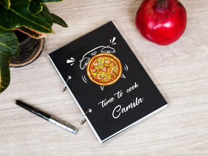 Printable Recipe Journal Time to Cook Personalized Recipe Book Alarm Clock Design Christmas Gift Pizza Lover Gift Cookbook Housewarming Gift