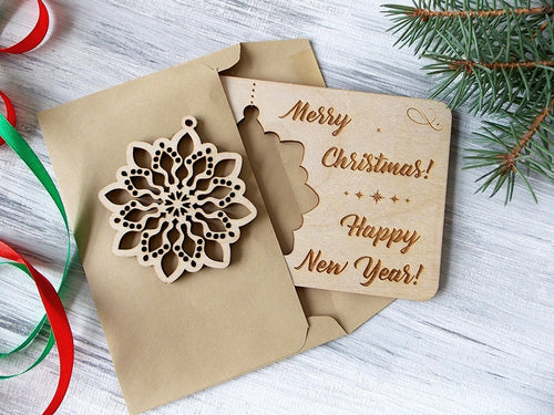 Wood Laser Cut Snowflake in Greeting Card, Christmas Gift for Friend Personalized Holiday Card, Merry Christmas Card with Christmas Ornament