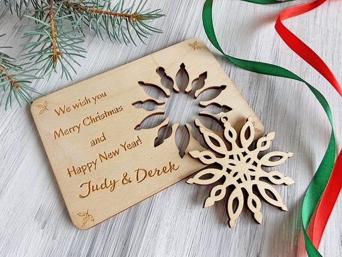 Christmas Tree Ornament Greeting Card Wood Laser Cut Snowflake Gift for Mom Personalized Christmas Card Laser Cut Ornament Coworker Gift