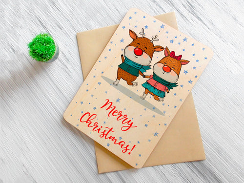 Merry Christmas Wood Card Christmas Gift Personalized Greeting Card Coworker Christmas Card Friend Christmas Gift Personalized Holiday Decor