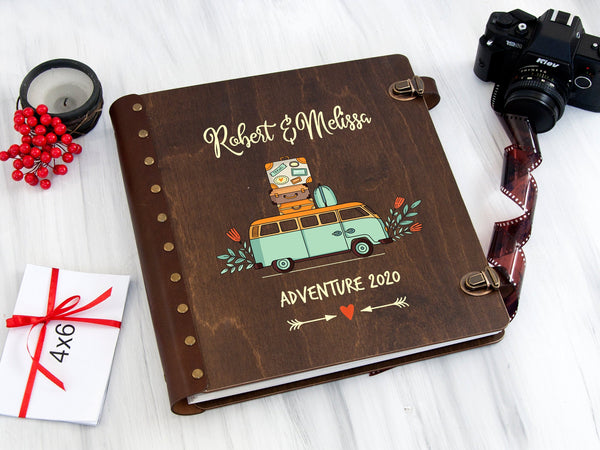 Personalized Photo Album Van Life Gift Album Campervan Adventure Book Travel Wedding Gift Wanderlust Gift for Couple Self-Adhensive Album