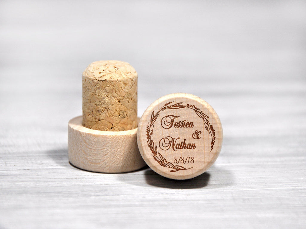 Personalized Wine Stopper Wedding Favors Wood Wine Corks Custom Wedding Gift Etched Wine Stopper Bridesmaid Gift Personalized Couple Gift