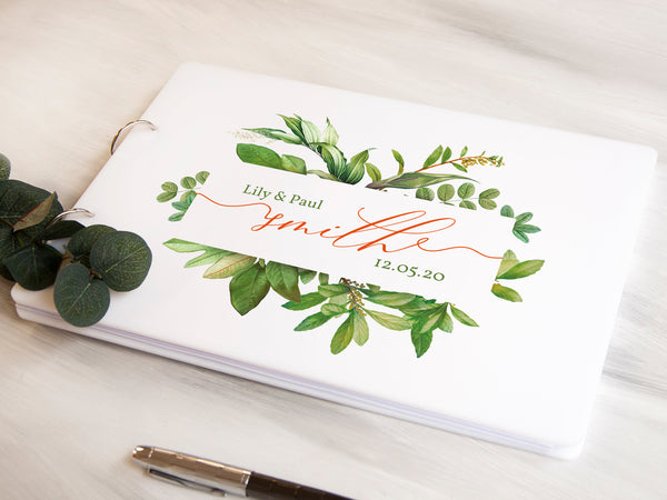 Personalized Guest Book, Greenery Wedding Guest Book, White Wedding Guest Book, Calligraphy Wedding Book Album, Instant Photo Wedding Album